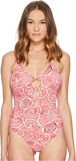 V-Neck Lace-Up One-Piece Swimsuit