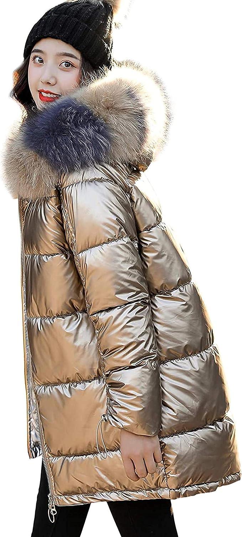 Women's Cool Metallic Parka Jacket Loose Packable Down Alternative Midi Anorak Coat