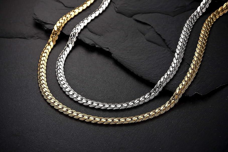 音楽家アーサーコナンドイル付けるヘリンボーン ペレバレンチノ 天然ダイヤモンド磁気ネックレス (ゴールド、Lサイズ)
