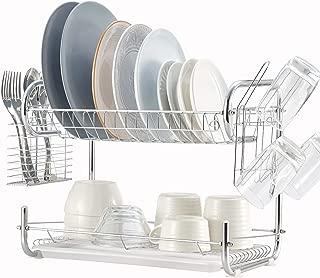 2 Tier Dish Rack, NATUROUS Dish Drying Rack Kitchen Organizer with Drain Board, Chrome