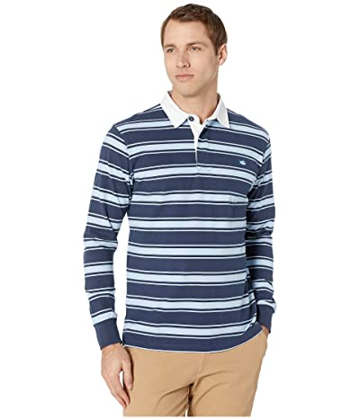 Southern Tide Rugby Striped Polo Shirt (Sky Blue) Men