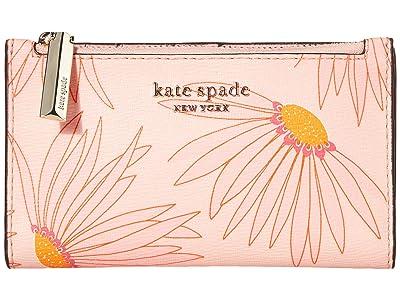 Kate Spade New York Spencer Grand Daisy Small Slim Bifold Wallet (Pink/Multi) Handbags