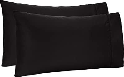 Amazon Basics Lightweight Soft Easy Care Microfiber Pillowcases - 2-Pack, Standard, Black