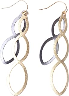 Women's Two Tone Scratched Gold Flashed & Hematite Plated CrissCross Dangles - 14k Gold Filled French Wire Earrings