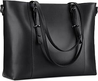 S-ZONE Damen 2.0 Version Schultertasche 15,6 Inch Leder Groß Shopper Laptop Handtasche Aktentasche Laptoptasche Arbeitstasche für Büro Schule Geschäfts Reisen Einkauf