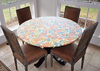 Covers For The Home Deluxe Elastic Edged Flannel Backed Vinyl Fitted Table Cover - Botanical Pattern - Large Round - Fits Tables up to 45