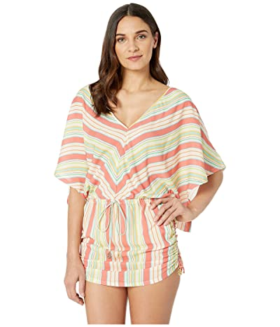 Luli Fama Play Time Cabana V-Neck Dress Cover-Up (Multi White) Women