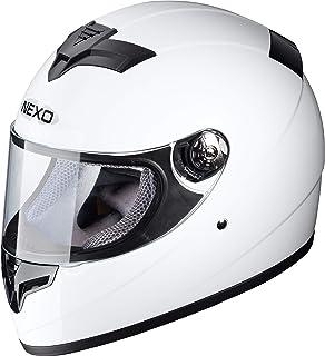 XS Nexo Jethelm Motorradhelm Helm Motorrad Mopedhelm Jethelm Fiberglas Urban Mattschwarz Brillenbandhalter mit Schirm Ratschenverschluss herausnehmbare Wagenpolster Chromkeder XL