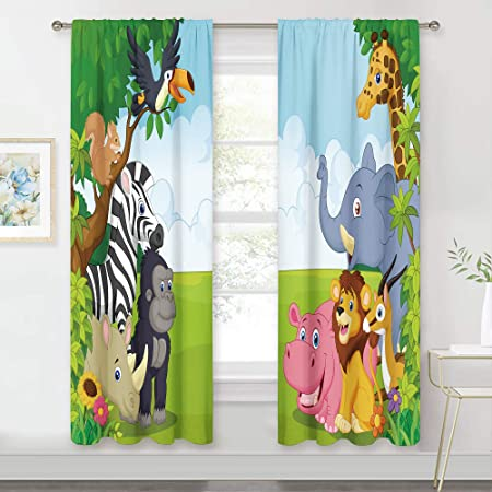 Meshelly Kids Safari Curtains 42 (w) X 63(h) Inch Rod Pocket Nursery Jungle Baby Boy Animal Children Play Forest Lion Printed Curtains for Living Room Bedroom Window Drapes Treatment Fabric 2 Panels