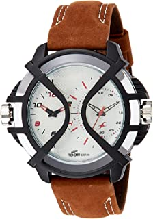 Fastrack Men's 38016PL02 Casual - Dual Time - Brown Leather Strap Watch