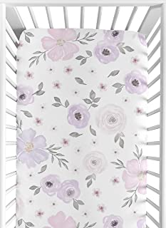 Sweet Jojo Designs Lavender Purple, Pink, Grey and White Baby or Toddler Fitted Crib Sheet for Watercolor Floral Collectio...
