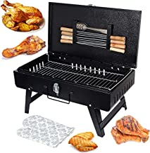 MAZORIA Briefcase Style Folding Compact Picnic Barbeque Grill, Tandoor with 8 Skewer, 1 Metal Grill, 1 pkt Charcoal, 1 Glo...