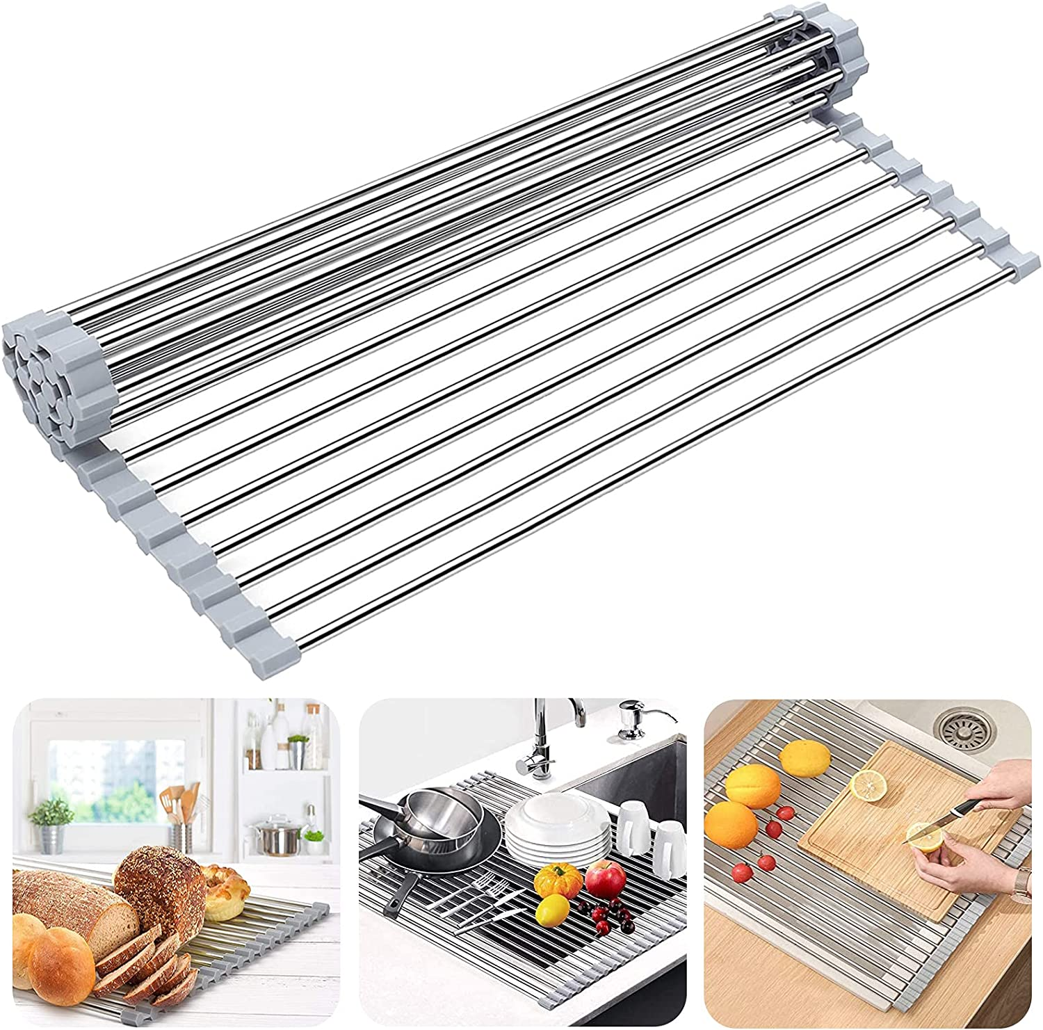 Over Max 52% OFF The Sink Dish Selling and selling Drying Rack up Roll Drain Booreina