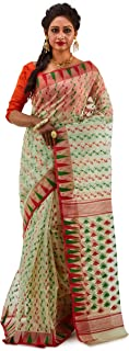 SareesofBengal Women's CottonSilk Handloom Jamdani Dhakai Saree Off-white Multicoloured