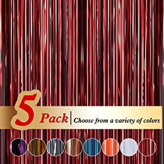 Ariceleo 5 Packs 3ftx8ft Tinsel Red Foil Curtains Metallic Fringe Curtains Shimmer Photo Booth Backdrop Curtain for Birthday Wedding Party Christmas Decorations (Red,5 Pack)