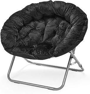 "Urban Shop Oversized Micromink Moon Saucer Chair, Black - 37"" L x 30"" W X 30"" D"