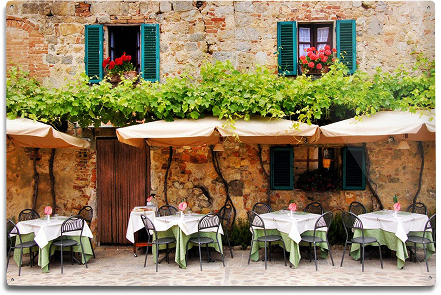 Lantern Press Mail order Tuscany Italy Cafe Tables Max 75% OFF Old Chairs Outside and