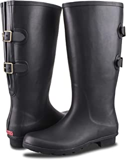 RAHATA Rubber Wide Calf Rain Boot for Women with Two Adjustable Buckles