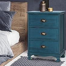 Artiss Vintage Bedside Table Timber 3-Drawer Sofa Side Table - Blue