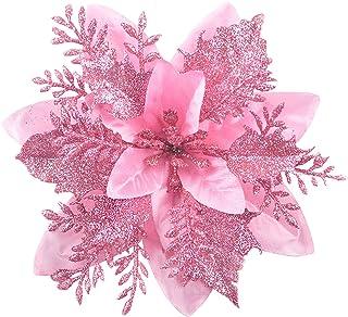 GL-Turelfies 12 st glitter julblommor (15 cm/5,9 tum) med 12 st klämmor konstgjorda julstjärnor blommor julgran blomdekora...