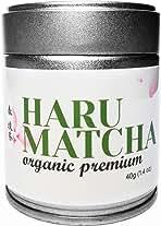 HARU MATCHA - 40g Tin (1.4oz) Japanese Organic Premium Ceremonial Grade Matcha Green Tea Powder - JAS Organic Certified - Ichibancha First Harvest