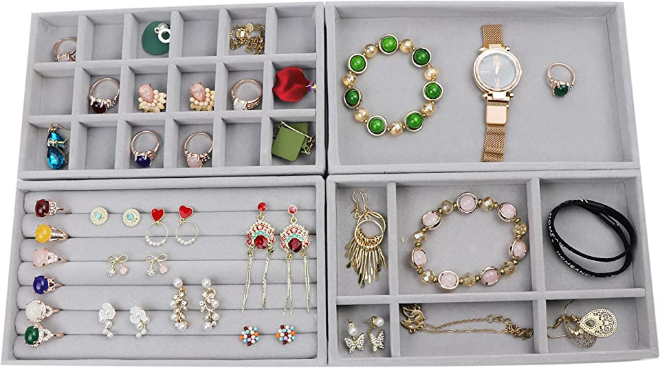 Homeanda Set of 4 Gray Velvet Necklace Earring Ring Bracelet Jewelry Drawer Storage Display Organizer Tray Holder (4, Grey)