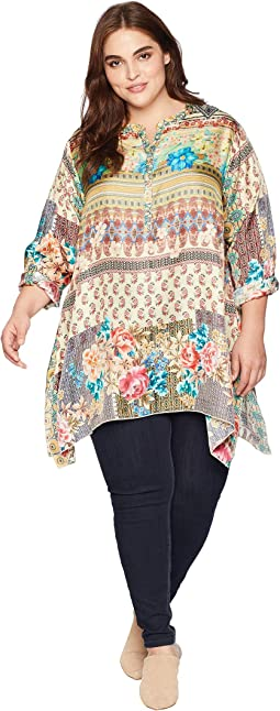 Plus Size Biza Handkerchief Blouse