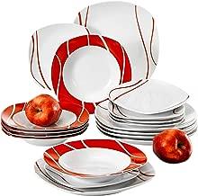 Malacasa, series felisa,18 piezas juegos de vajilla de porcelana 6 Platos de postre 6 Platos de sopa y 6 Platos de cena vajilla para 6 persona