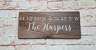 GPS Coordinates Sign, Last Name Sign for Home, Longitude Latitude GPS, Painted Wood Sign