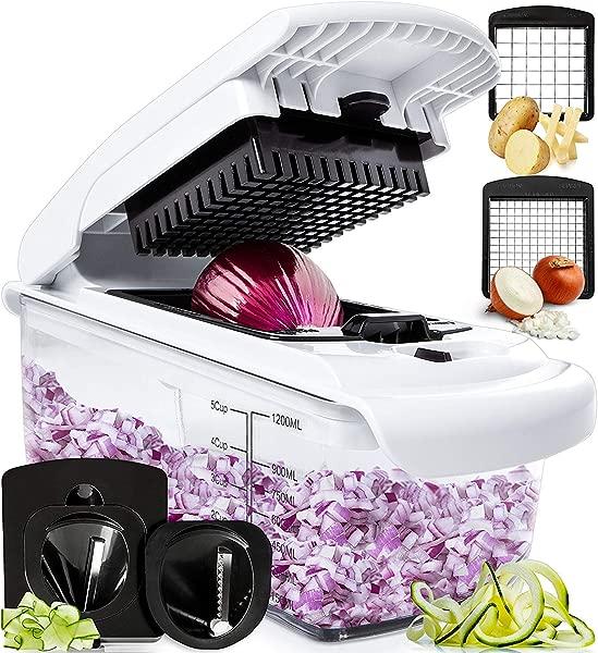 全明星蔬菜切碎机螺旋蔬菜切片机洋葱切碎机带容器专业食品切碎机切片机切片机 4 刀片