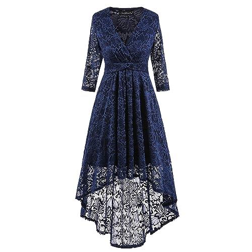 af6a415393 Adodress Women s Long Sleeve Lace Prom Dresses Formal Retro Vintage Swing  Party Cocktail Dresses S-