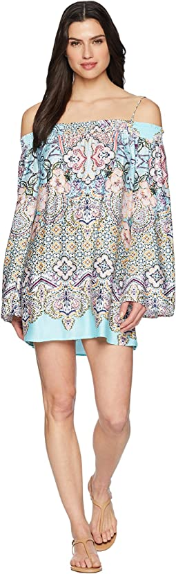 Rosey Tile Off the Shoulder Dress Cover-Up