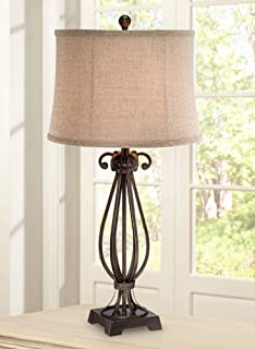 Taos Traditional Table Lamp Iron Open Scroll Base Neutral Burlap Shade for Living Room Family Bedroom Bedside Nightstand - Regency Hill