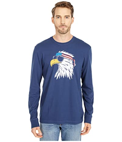Life is Good Patriotic Eagle Long Sleeve Crusher Tee (Darkest Blue) Men