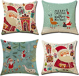 LEIOH Christmas Pillow Covers 4 Pack,BPFY Print Merry Christmas Happy New Year,Christmas Deer,Santa Claus, Merry Christmas Decorative Sofa Throw Pillow Case Cushion Covers 18 X 18 Inch