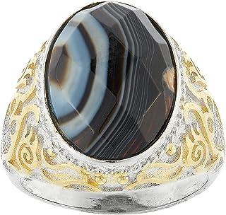 Aurora Men's Silver Aqeeq Tiger Eye Ring