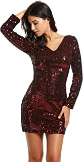 Meaneor Women's Sequin V-Neck Long Sleeve Bodycon Sheath Mini Dress US Store