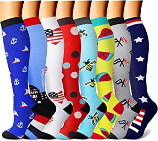 Compression Socks for Women & Men 7/8 Pairs 15-20 mmHg is Best Graduated Athletic,Running,Flight,Travel,Nurses