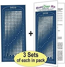 Moon Calendar 2020, Magnet, MoonMaggy - 3 Set, 3 Magnetic Calendars Plus 3 Moon Over Me Almanac Information Cards