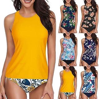 POLPqeD Tankini para Mujer Halter Sexy Cintura Alta Conjunto de Bikini Tops Tankini con Breifs Ropa de Playa Control de Ba...