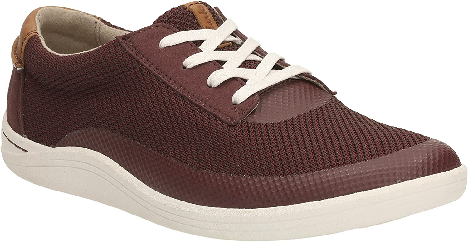 Clarks Men's Casual Trainer shoes Mapped Edge Burgundy Combi Size 9.5G