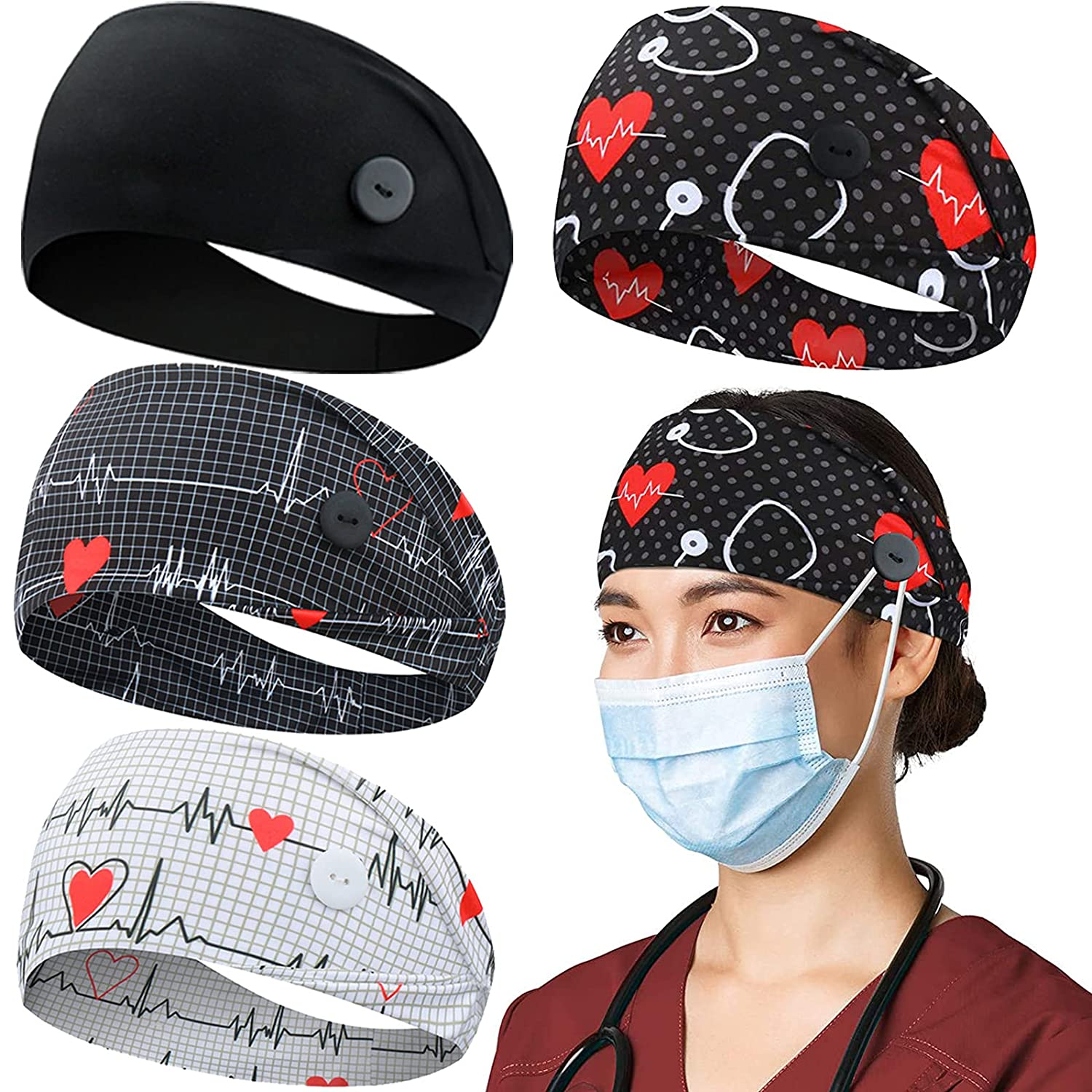 Headbands with Button for Mask, Wide Nurses Headbands Non Slip Elastic Ear Protection for Women Men Doctors Sweatband Head Wrap (BUTTON- 4 PACK COLOR30)