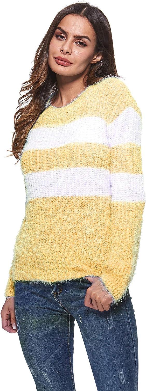 HIKA Women's Crewneck Stripe Long Sleeve Jumper Casual Sweater
