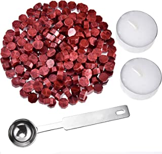 (Wine Red) - Hestya 230 Pieces Octagon Sealing Wax Beads Sticks with 2 Pieces Tea Candles and 1 Piece Wax Melting Spoon fo...