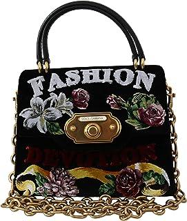 Dolce & Gabbana Black Fashion Devotion Damen Samt Borse