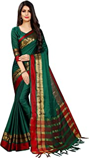 Perfectblue Women's cotton Silk Saree With Blouse Piece New