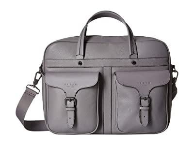 Ted Baker Forsee Fashion Leather Document Bag (Grey) Briefcase Bags