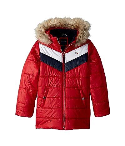 Tommy Hilfiger Kids Long Length Quilted Chevron Color Block Puffer Jacket (Big Kids) (Scarlet Sage) Girl