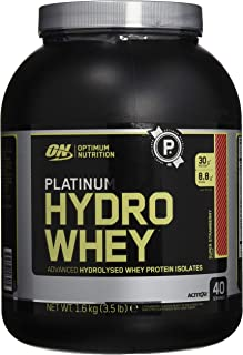 OPTIMUM NUTRITION Platinum Hydrowhey Protein Powder, 100% Hydrolyzed Whey Protein Isolate Powder, Flavor: Supercharged Strawberry, 3.5 Pounds