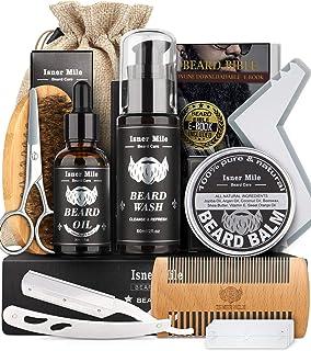 Kit Barba Cuidado Para Hombres, Set Herramientas de Aseo y Recorte Con Champú Barba, Aceite Crecimiento Barba, Bálsamo, Ce...